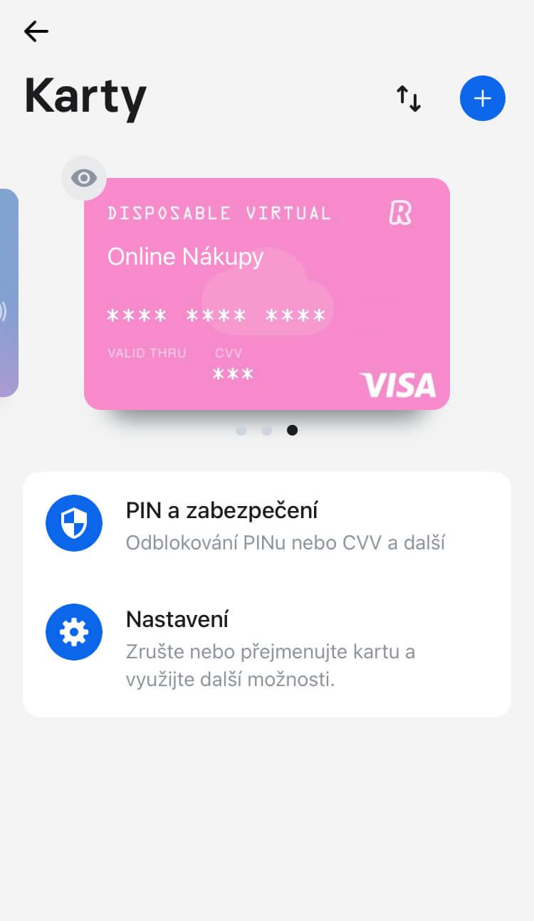 Revolut - Jednorázová platební karta (Disposable virtual card)