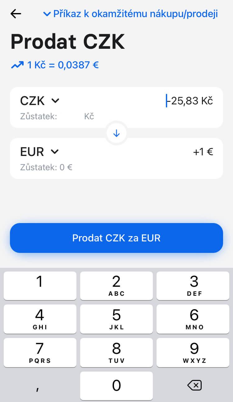 Revolut - Prodat CZK