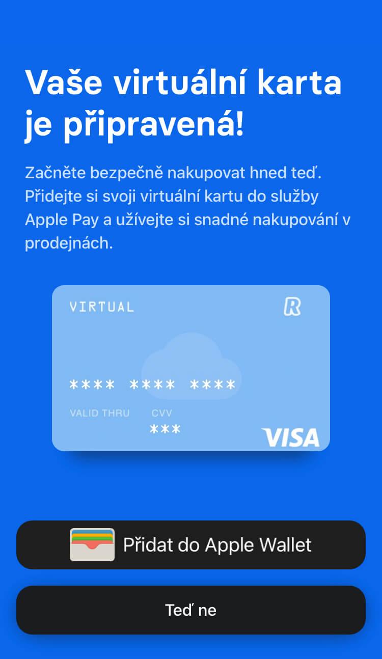 Revolut - Virtuální karta - Apple Wallet