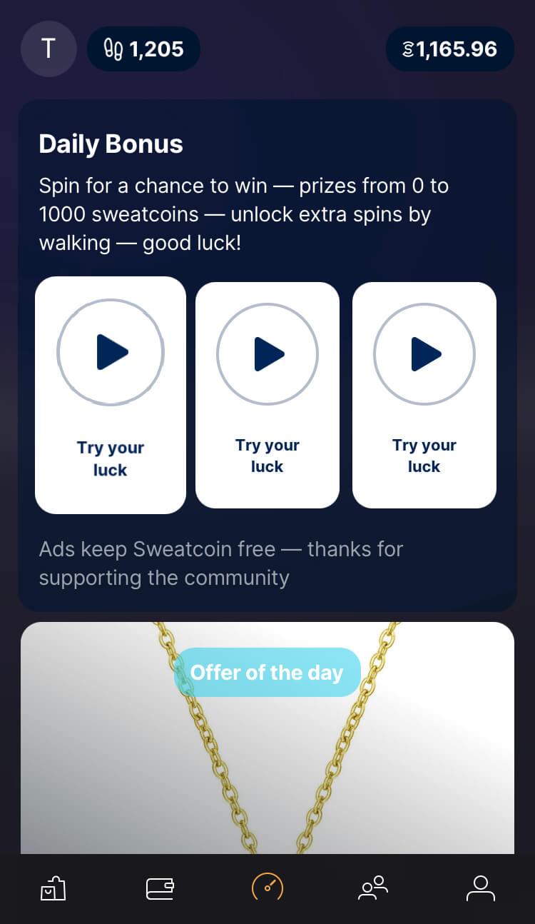 Sweatcoin - Daily bonusy