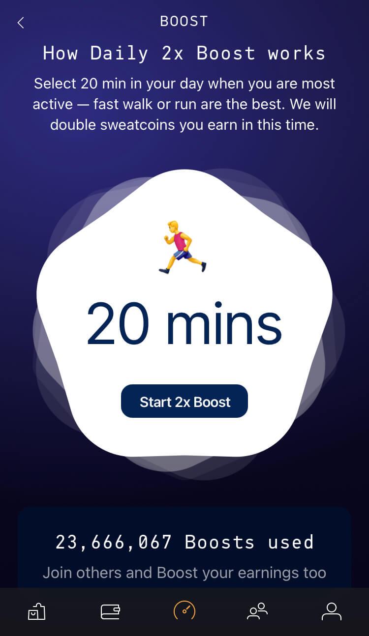 Sweatcoin - 2x Boost - 20 minut