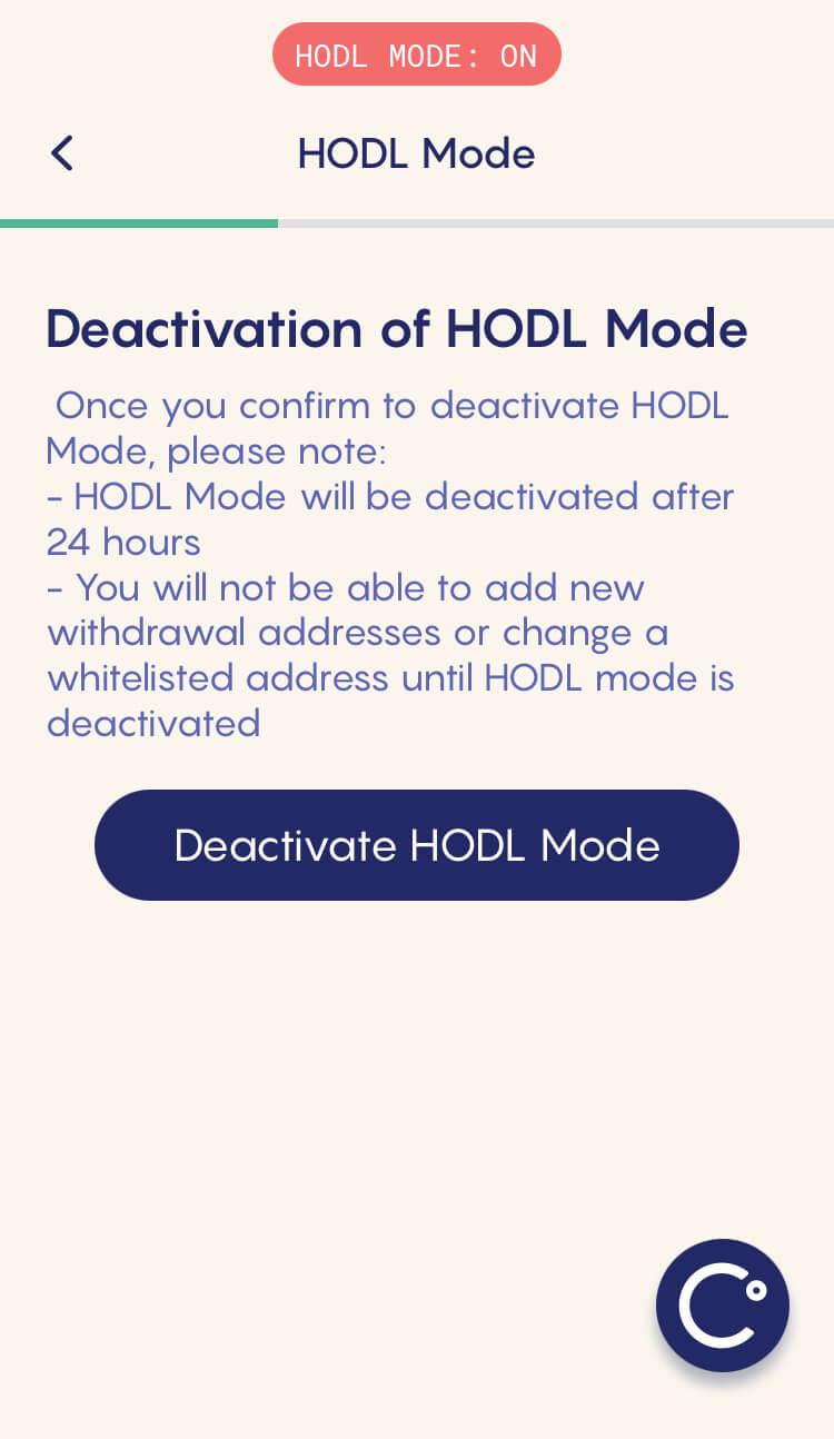 Celsius Network - HODL MODE: Deactivation mode